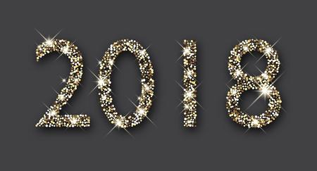 Shining silver 2018 New Year figures on grey background. Vector illustration. Stock Illustratie