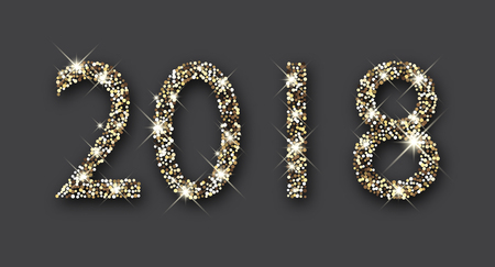 Shining silver 2018 New Year figures on grey background. Vector illustration. Çizim