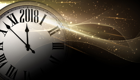 Golden 2018 New Year shining background with clock. Vector illustration.