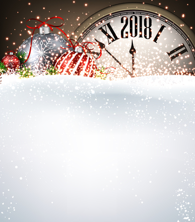 2018 New Year background with clock, Christmas balls and snow. Vector illustration. Фото со стока - 87883754