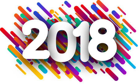 Colorful abstract 2018 new year background. Vector paper illustration. Illustration