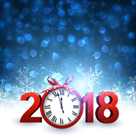 Blue 2018 New Year background with clock and snowflakes. Vector illustration. Illustration