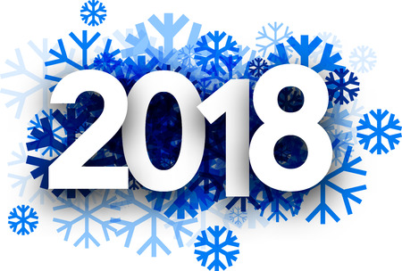 Winter 2018 New Year background with blue snowflakes. Vector paper illustration.