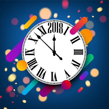 Blue abstract 2018 new year background with clock. Vector illustration.