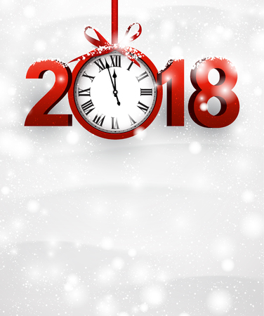 Snowy 2018 New Year background with red clock. Vector illustration.