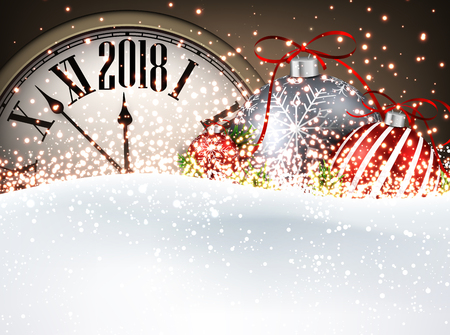 2018 New Year background with clock, Christmas balls and snow. Vector illustration. Иллюстрация