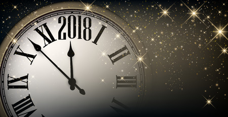 Shining 2018 New Year banner with clock. Vector illustration.