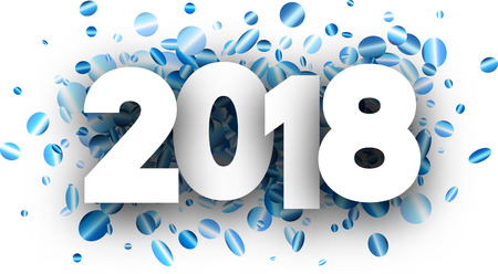 2018 new year background with blue shiny confetti. Vector illustration. Illustration