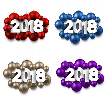 2018 New Year isolated signs with Christmas balls. Vector illustration.