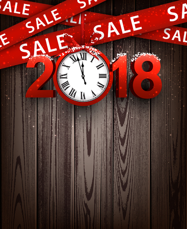Wooden sale 2018 background with clock and ribbon. Vector illustration.