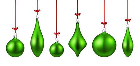 Set of green isolated figured Christmas balls. Vector illustration template. Illustration