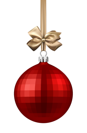 Red round isolated Christmas ball with golden satin bow. Vector illustration.