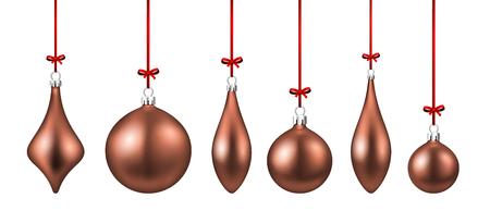 Set of pink isolated figured Christmas balls. Vector illustration template. Illustration