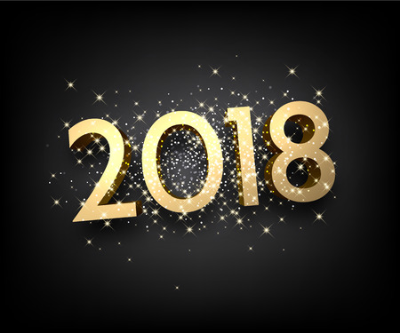 Golden shining 2018 New Year figures on grey background. Vector illustration. Иллюстрация