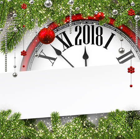 2018 New Year background with clock and fir branches. Vector illustration.