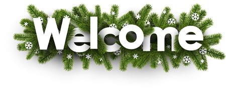 Bannière de bienvenue hiver avec des branches d'épinette et des flocons de neige. Illustration vectorielle Vecteurs