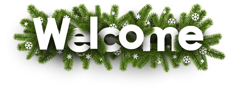 coniferous: Winter welcome banner with spruce branches and snowflakes. Vector illustration.