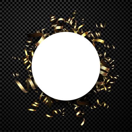 Runde schwarze Neujahrskarte mit goldenem Papierserpentin. Vektor-illustration Vektorgrafik