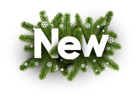 Winter new card with fir branches and white snowflakes. Vector illustration.