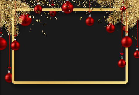 New Year background with fir branches and red Christmas balls. Vector illustration.