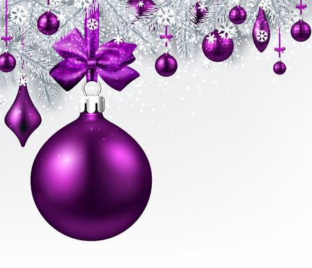 Anno nuovo sfondo con rami di abete e palle di Natale viola. Illustrazione vettoriale Archivio Fotografico - 89114562