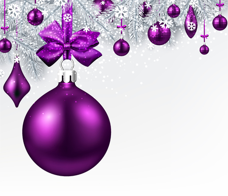 New Year background with fir branches and purple Christmas balls. Vector illustration. Фото со стока - 89114562