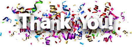 White thank you banner with colorful paper serpentine. Vector illustration.