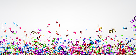 White New Year banner with colorful paper serpentine. Vector illustration. Illustration