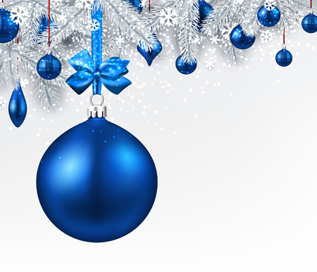 new year background with fir branches and blue christmas balls vector illustration stock vector - Blue Christmas Balls
