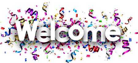 White welcome banner with colorful paper serpentine. Vector illustration. 일러스트