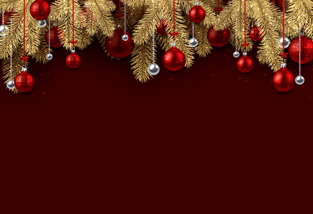 Red New Year background with spruce branches and Christmas balls. Vector illustration.