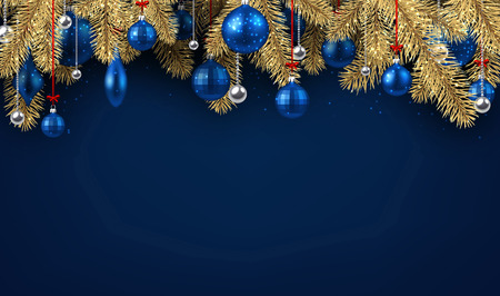 Blue New Year background with spruce branches and Christmas balls. Vector illustration.