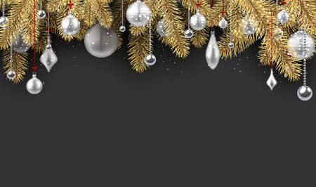 Grey New Year background with spruce branches and Christmas balls. Vector illustration.