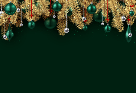 Emerald New Year background with spruce branches and Christmas balls. Vector illustration. Illustration
