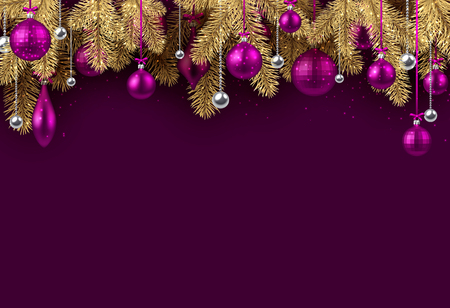 Purple New Year background with spruce branches and Christmas balls. Vector illustration.