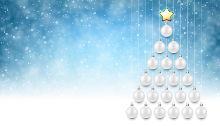Blue New Year background with white Christmas balls. Vector illustration.