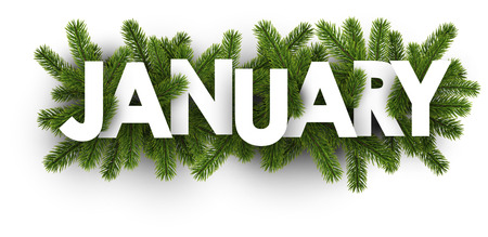 White january banner with green fir branches. Vector illustration. Ilustração