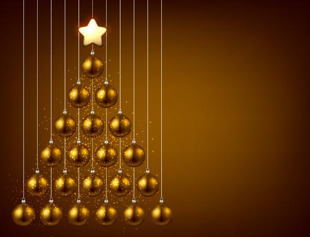 New Year background with golden Christmas balls. Vector illustration. Иллюстрация