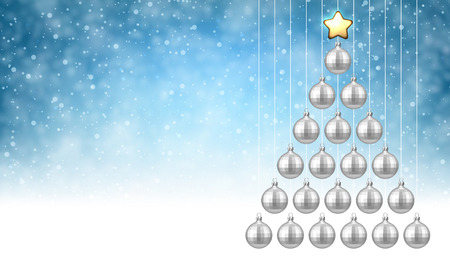 Blue New Year background with silver Christmas balls. Vector illustration. Иллюстрация
