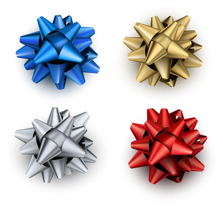 Set of colorful bows isolated on white for gifts decoration. Vector illustration. Illustration