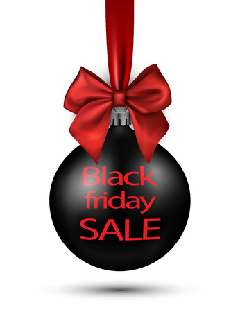 Black friday sale sign with Christmas ball on white. Vector illustration.