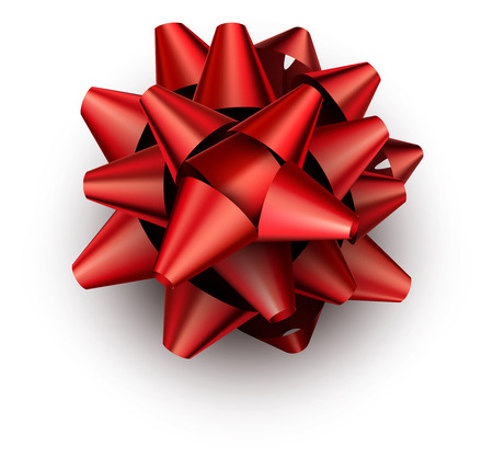 Single realistic red bow for gift isolated Vector illustration.