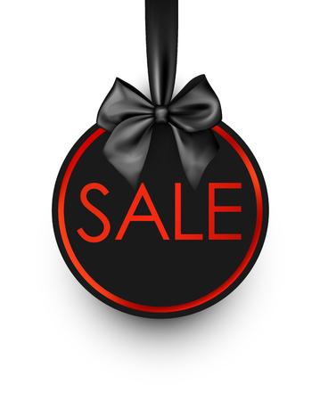 Black round sale sign with satin bow Vector illustration. Illustration