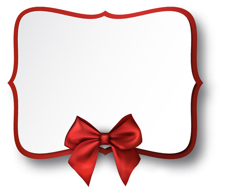 White figured holiday frame with red satin bow Vector paper illustration. Illustration