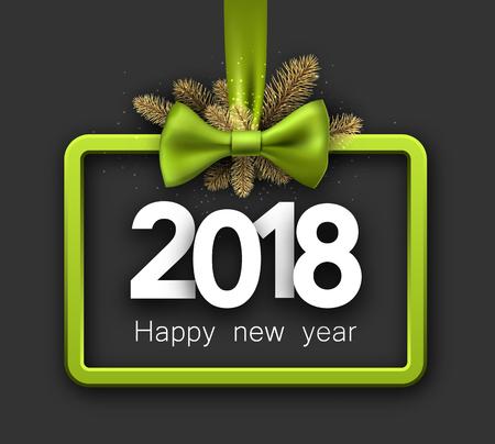 2018 tarjeta de año nuevo con ramas de abeto y arco verde. Ilustración vectorial