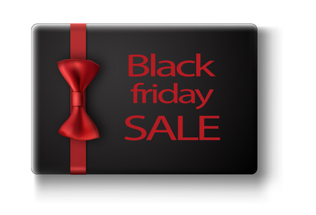 Black friday sale card with red glossy bow. Vector illustration.