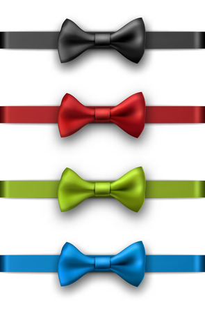 Decorative colorful satin ribbons with bows isolated on white. Vector illustration.