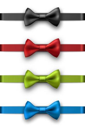 Dekorative bunte Satinbänder mit den Bögen lokalisiert auf Weiß . Vektor-Illustration Standard-Bild - 90040827