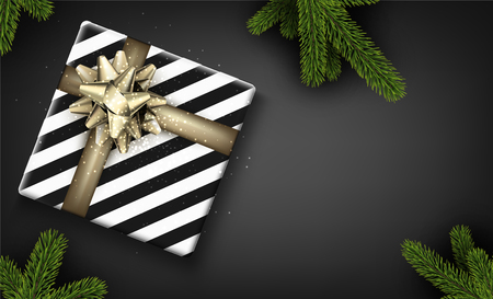 Christmas background with spruce branches and gift box. Vector top view illustration.