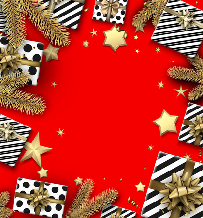 Red Christmas background with fir branches, gifts and stars. Vector top view illustration.
